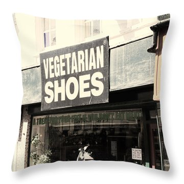 Vegetarian Shoes Throw Pillow