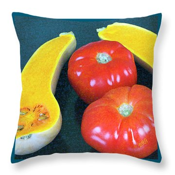 Veggies And Colors Throw Pillow by Ben and Raisa Gertsberg