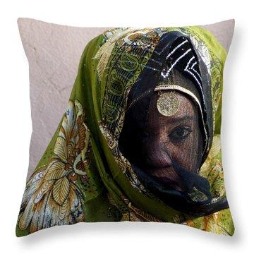 Veiled Throw Pillow by Debi Demetrion