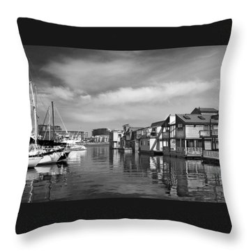 Veiw Of Marina In Victoria British Columbia Black And White Throw Pillow