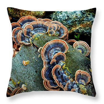 Throw Pillow featuring the photograph Velvet Wild Mushrooms  by Jerry Cowart