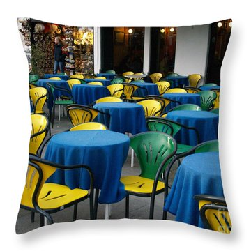 Throw Pillow featuring the photograph Venetian Cafe by Robin Maria Pedrero