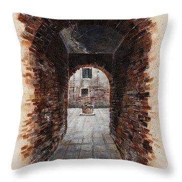 Throw Pillow featuring the painting Venetian Courtyard 01 Elena Yakubovich by Elena Yakubovich