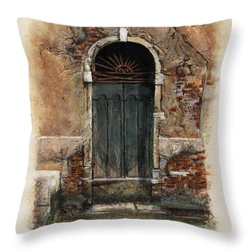Venetian Door 01 Elena Yakubovich Throw Pillow by Elena Yakubovich