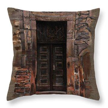 Throw Pillow featuring the painting Venetian Door 02 Elena Yakubovich by Elena Yakubovich