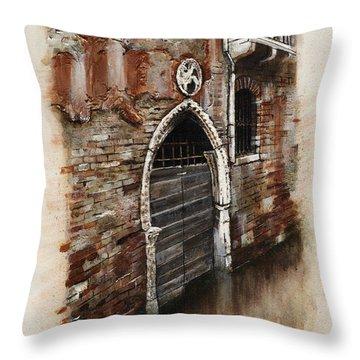 Throw Pillow featuring the painting Venetian Door 03 Elena Yakubovich by Elena Yakubovich