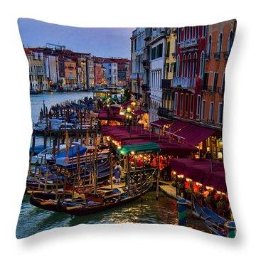 Venetian Grand Canal At Dusk Throw Pillow