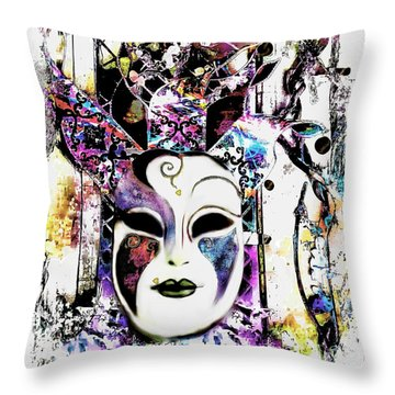 Venetian Mask Throw Pillow by Barbara Chichester