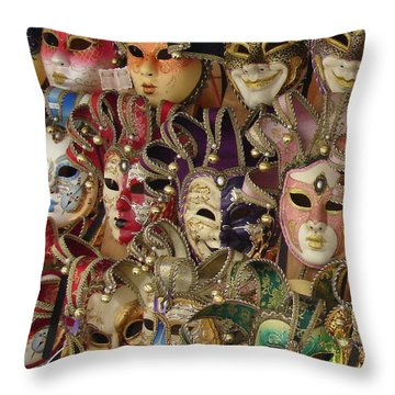Throw Pillow featuring the photograph Venetian Masks by Ramona Johnston