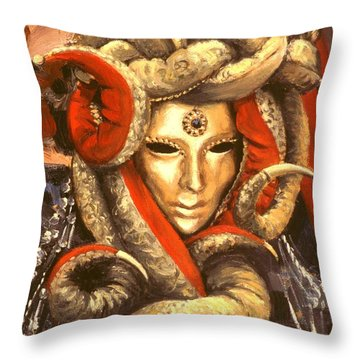 Throw Pillow featuring the painting Venetian Mystery Mask by Michael Swanson