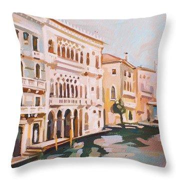 Venetian Palaces Throw Pillow by Filip Mihail