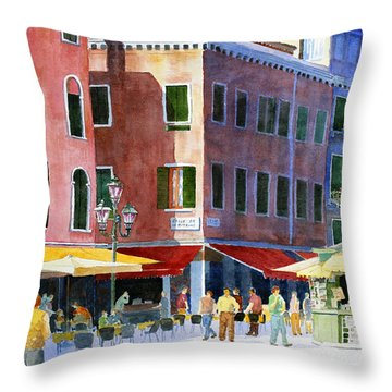 Throw Pillow featuring the painting Venetian Piazza by Roger Rockefeller