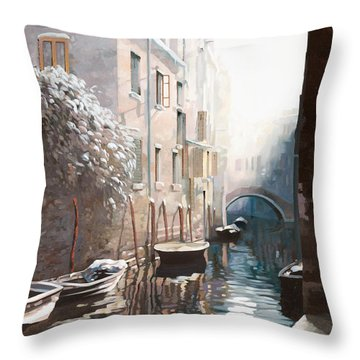 Venezia Sotto La Neve Throw Pillow by Guido Borelli