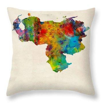 Venezuela Watercolor Map Throw Pillow