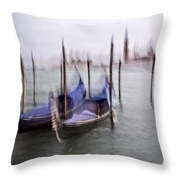 Abstract Black And White Blue Venice Italy Photography Art Work Throw Pillow