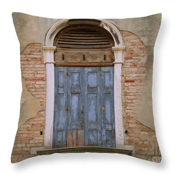 Venice Arched Bblue Shutters Horizontal Throw Pillow