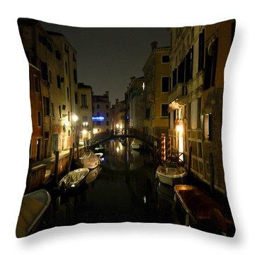 Venice At Night Throw Pillow by Silvia Bruno