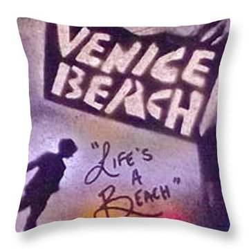 Venice Beach To Santa Monica Pier Throw Pillow by Tony B Conscious