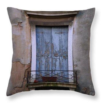 Venice Blue Shutters Horizontal Photo Throw Pillow