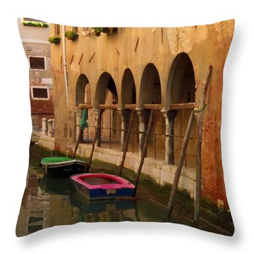 Venice Boats On Canal Throw Pillow