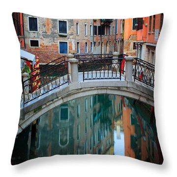 Venice Bridge Throw Pillow by Inge Johnsson