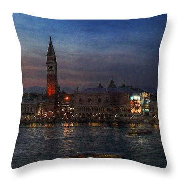 Throw Pillow featuring the photograph Venice By Night by Hanny Heim