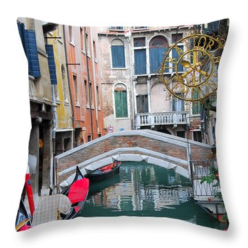 Venice Canal And Buildings Throw Pillow by Eva Kaufman