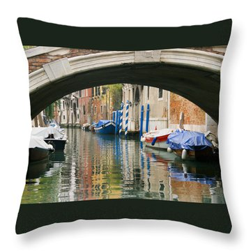 Venice Canal Boat Throw Pillow by Silvia Bruno