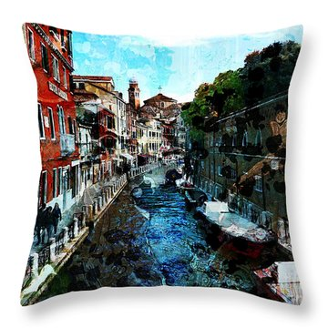 Venice Canal Throw Pillow by Claire Bull