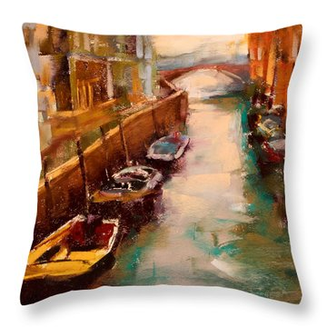 Venice Canal Throw Pillow by David Patterson