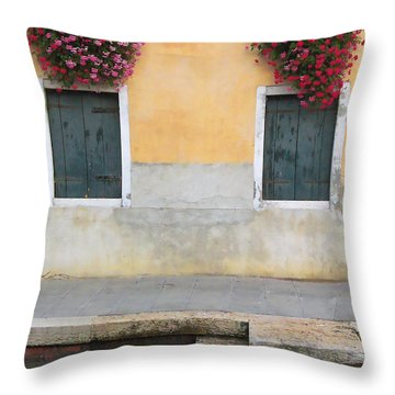 Venice Canal Shutters With Window Flowers Throw Pillow