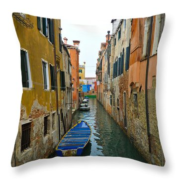 Venice Canal Throw Pillow by Silvia Bruno