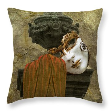 Venice Carnival Masque And Cloak Throw Pillow by Suzanne Powers