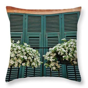 Throw Pillow featuring the photograph Venice Flower Balcony 2 by Allen Beatty