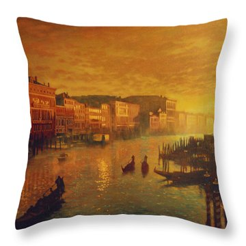 Venice From The Rialto Bridge Throw Pillow by Blue Sky
