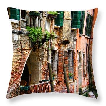 Venice Getaway Throw Pillow by Mariola Bitner