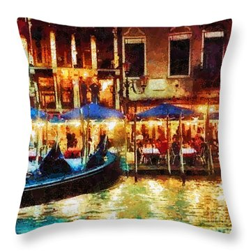 Venice Glow Throw Pillow by Mo T