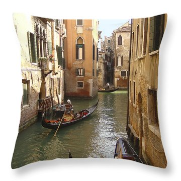 Throw Pillow featuring the photograph Venice Gondolas by Karen Zuk Rosenblatt