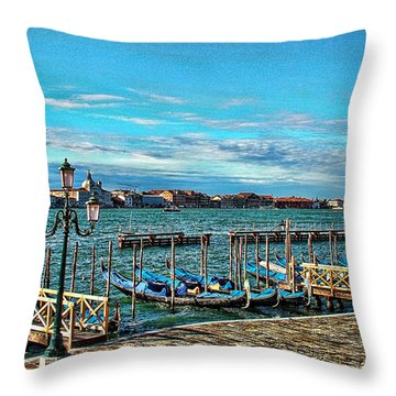 Venice Gondolas On The Grand Canal Throw Pillow