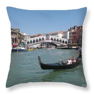 Venice Gondolier Throw Pillow by John Malone
