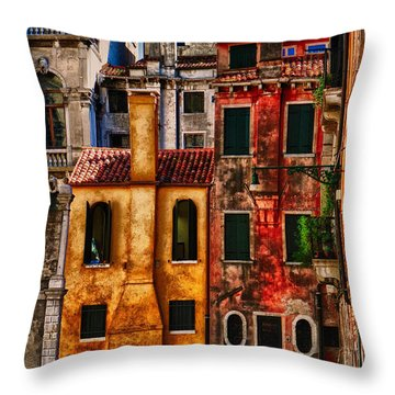 Throw Pillow featuring the photograph Venice Homes by Jerry Fornarotto