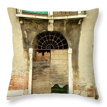 Venice Italy Boat Room Shutters Throw Pillow