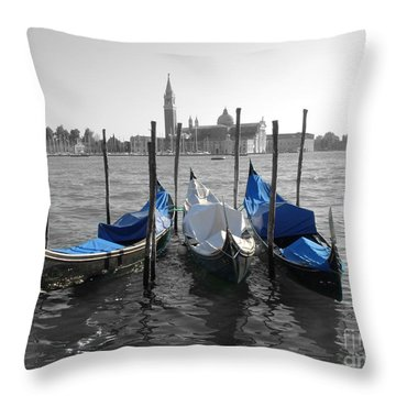Venice Italy Boats In Black And Blue Throw Pillow