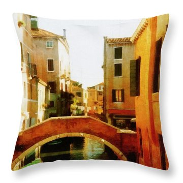 Venice Italy Canal With Boats And Laundry Throw Pillow by Michelle Calkins