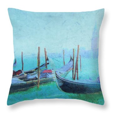 Venice Italy Gondolas With San Giorgio Maggiore Throw Pillow