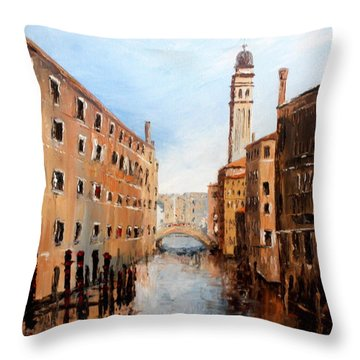Throw Pillow featuring the painting Venice Italy by Jean Walker