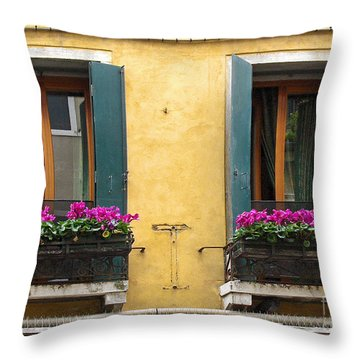Venice Italy Teal Shutters Throw Pillow
