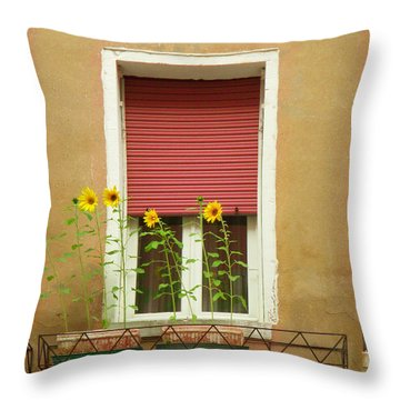 Venice Italy Yellow Flowers Red Shutter Throw Pillow