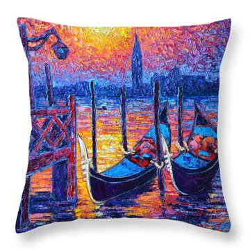 Venice Mysterious Light - Gondolas And San Giorgio Maggiore Seen From Plaza San Marco Throw Pillow