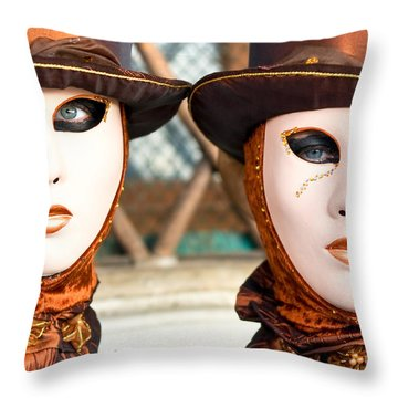 Venice Masks - Carnival. Throw Pillow by Luciano Mortula